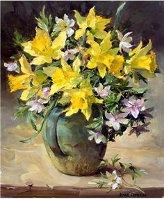 Wild Daffodils and Wood Anemones - Anne Cotterill Art Floral, Watercolor Flowers, Watercolor Paintings, Image Halloween, Flower Artists, Image Nature, Art Folder, Guache, Wow Art