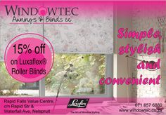 Windowtec sells interior blinds, exterior blinds, fabric awnings & shutters in Nelspruit, Mpumalanga. We are a Luxaflex® Gallery Store located at Riverside Industrial Park, Nelspruit. Exterior Blinds, Interior And Exterior, Fabric Awning, 24 December, Window Styles, Roller Blinds, Shutters, Just For You, Touch