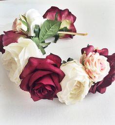 Flower Crown or Floral Head Wreath by Lovefromlilywedding on Etsy