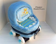 Baby Carriage Diaper Cake   Blue Basinet  by DiaperMakeOvers