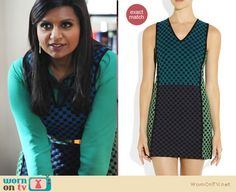 Mindy's green checked dress with green/blue shirt on The Mindy Project.  Outfit details: http://wornontv.net/12082/