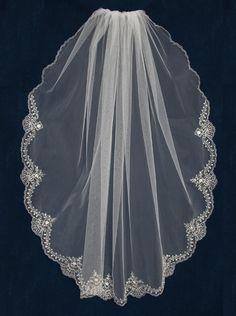 "45"" Long Silver Beaded Embroidery Wedding Veil JL Johnson Bridal C475--Affordable Elegance Bridal -"