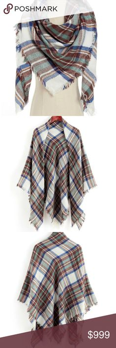 Gingham Scarf Wear it like a poncho or scarf! Super versatile for multi-season wear, & beautiful colors make you pop!  [photo credit:emmacloth] ❤️ Always open to offers ❤️ Ask questions prior to purchase ❤️ Bundle & save Accessories Scarves & Wraps