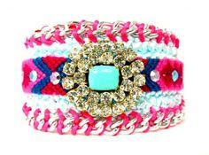Monooi Large Friendship Bracelet/Neon Pinks And Blues