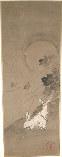 Rabbits Artist: Ogata Kōrin (Japanese, Period: Edo period Date: century Culture: Japan Medium: Matted painting; ink and color on paper Dimensions: 39 x 14 in. x 36 cm) Classification: Paintings Japanese Prints, Japanese Art, Lapin Art, Year Of The Rabbit, Art Japonais, Rabbit Art, Bunny Art, Edo Period, Illustration