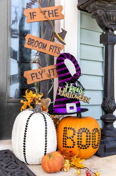 Give your Halloween decor a face-lift with spooky signs, studded pumpkins and a…
