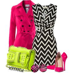 """Neon & Chevron"" by kellylynne68 on Polyvore"