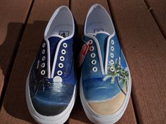 Custom Painted Beach Shoes by LindseyRosesDesign on Etsy, $120.00