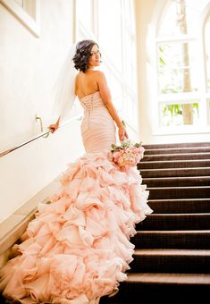 Pink Wedding Dresses,Mermaid Wedding Dress with Ruffles,Tulle Bridal Gown with train - Wishingdress Wedding Dress Organza, Pink Wedding Dresses, Sweetheart Wedding Dress, Elegant Wedding Dress, Perfect Wedding Dress, Bridal Gowns, Wedding Gowns, Mermaid Wedding, Mermaid Sweetheart