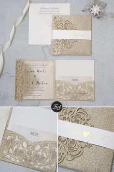 luxury champagne gold glitter tri-fold laser cut pocket wedding invite with belly band Laser Cut Wedding Invitations, Wedding Invitation Wording, Wedding Stationery, Event Invitations, Quinceanera Invitations, Invites, Blue Gold Wedding, Fall Wedding, Rustic Wedding
