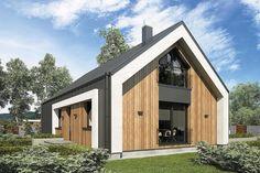Projekt domu Aurora Midi III BIS 84,4 m2 - koszt budowy - EXTRADOM Barn Style House Plans, Modern Barn House, Cabin House Plans, Cottage Exterior, Modern Farmhouse Exterior, Dream House Exterior, House Cladding, Facade House, Build My Own House