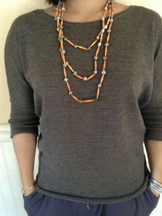 B4 Orange Paper Bead Necklace with Natural Seeds by Twerwaneho, $10.00