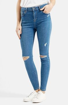 Free shipping and returns on Topshop Moto 'Jamie' High Rise Skinny Jeans (Mid Denim) (Regular & Petite) at Nordstrom.com. Threadbare scuffs and shredded knees lend lovably lived-in style to high-waisted skinny jeans cut in an ankle-grazing silhouette. A stony blue wash completes the grungy-chic look.