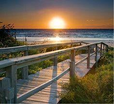 Beautiful sunset at the beach. Beautiful Sunset, Beautiful Beaches, Beautiful World, Waterfront Property, Beachfront Property, Deck, I Love The Beach, All Nature, Ocean Beach