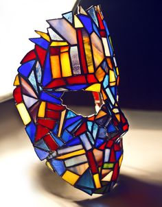 Stained glass goalie mask Tiffany technique by zyklodol on DeviantArt Stained Glass Designs, Stained Glass Projects, Stained Glass Patterns, Stained Glass Art, Mondrian, Mosaic Art, Mosaic Glass, Fused Glass, Tiffany Stained Glass