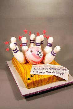 Pink Bowling Birthday Cake