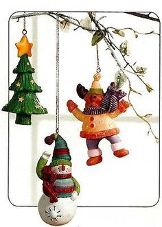Home Interiors Seasonal Snowman/Moose Tree Ornaments Set/3 HOMCO HIG 58158