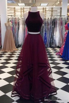 Burgundy velvet top long two pieces tulle party dress, long ruffles homecoming dress from Sweetheart Dress Burgundy tulle two piece prom dress Pink Party Dresses, Cute Prom Dresses, Tulle Prom Dress, Grad Dresses, Dance Dresses, Pretty Dresses, Dress Party, Prom Party, Dresses Dresses