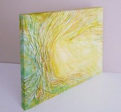 Green Tree Sunshine Yellow Painting Abstract Giclée by AnnaKisArt