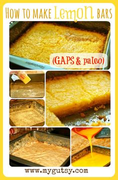GAPS Lemon Bars (recipe has two crust variations) 2nd crust: INGREDIENTS: 3 pastured egg yolks  1/2 tsp sea salt  1/2 cup Coconut Flour  1 cup coconut milk/ organic whole milk  2 T honey