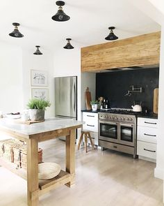 Black, white, reclaimed kitchen