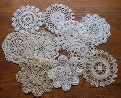 10 Little Vintage Lacy Crochet Doilies for by chameleonCMC on Etsy, $9.00