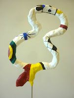 wire armature, wrap with newspaper, tape, then plaster wrap! Miro-inspired
