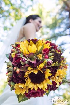 Fall wedding bouquet in sunflowers and marsala tones...Photography by Brian T. Waters. See more here: https://www.etsy.com/listing/218817484/sunflower-fall-wedding-bridal-bouquet?ref=shop_home_active_6