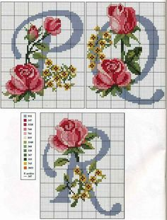 Alphabet with roses and yellow flowers - free cross stitch patterns crochet knitting amigurumi Christmas Cross Stitch Alphabet, Cross Stitch Alphabet Patterns, Cross Stitch Letters, Cross Stitch Pillow, Cross Stitch Flowers, Cross Stitch Designs, Stitch Patterns, Crochet Patterns, Cross Stitching