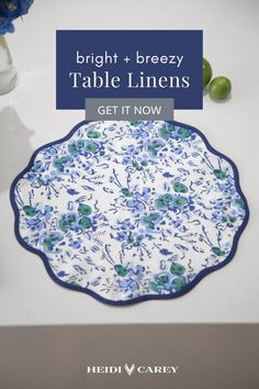 Lift spirits with bright + breezy table linens. Designed by Heidi Carey in California and hand printed in Jaipur, India.