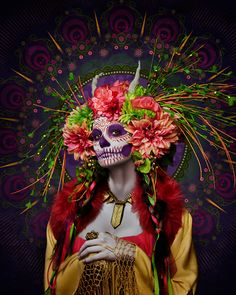 """California-based photographer Tim Tadder created this amazing series of portraits called """"las muertas"""" as a tribute to Dia De Los Muertos, a Mexican holiday La Muerte Tattoo, Day Of Dead Makeup, Beau Film, Mexican Holiday, Day Of The Dead Art, Day Of The Dead Woman, Mexico Day Of The Dead, Sugar Skull Makeup, Sugar Skulls"""