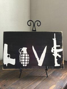 Love Guns Rustic Wooden Sign 2nd Amendment Wood by WCbyBettina