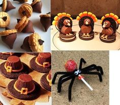 Cute Halloween treats! very easy to do. I've done the spider and pilgrim hats. Add a Hershey kiss and draw with icing a bow for a witches hat.