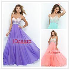 2015 Romantic A Line One Shoulder Prom Dresses