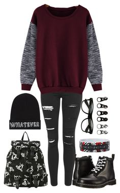 """""""Punkish Music Nerd"""" by littlenerd10 ❤ liked on Polyvore featuring Topshop, Local Heroes, Full Tilt, Dr. Martens, country, women's clothing, women's fashion, women, female and woman"""