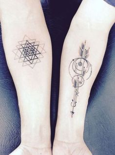 """Sri Yantra arm tattoo """"I'm a bipolar patient, and I got this tattoo in a really unplanned way. But it's so appropriate. It's a sri yantra: 49 triangles, two opposing forces that make momentum. My life might get difficult, but I feel like I'm made of perp Dreieckiges Tattoos, Bild Tattoos, Arrow Tattoos, Trendy Tattoos, Body Art Tattoos, Small Tattoos, Tattoos For Guys, Tatoos, Future Tattoos"""