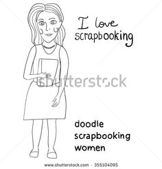 Scrapbooking woman. Woman Doing Scrapbook. I love scrapbook. - stock vector