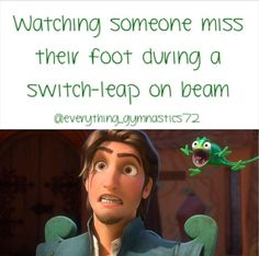 That actually happened to me at practice a couple days ago, and I fell on the beam between my legs. Now I have a huge bruise XD Tumbling Gymnastics, Gymnastics Videos, Acrobatic Gymnastics, Gymnastics Workout, Sport Gymnastics, Olympic Gymnastics, Olympic Games, Gymnastics Stuff, Funny Gymnastics Quotes