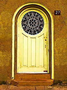 Yellow Door w/Intricate Scrolllwork Window