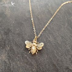 Bee and honey drop necklace bee jewelry honey bee humble bee gold bee necklace honey bee necklace aloadofball Images