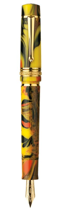 Delta Dolcevita Gallery Fountian pen. Inspired by abstract expression of drip painting. Features a multi-colored, swirled resin. No two are alike.