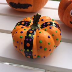 Little pumpkin with puffy paint and designer duct tape by my friend Lisa