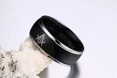 Titanium 2 Tone Black Plated Domed Masonic Ring Bands for Freemaso - InnovatoDesign Band Engagement Ring, Wedding Ring Bands, Wedding Engagement, Band Rings Women, Rings For Men, Meteorite Wedding Band, Masonic Jewelry, Ring Boy, Black Onyx Ring