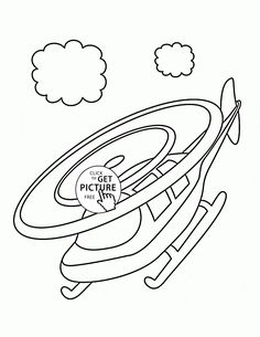 Small Helicopter in the Sky coloring page for toddlers, transportation coloring pages printables free - Wuppsy.com