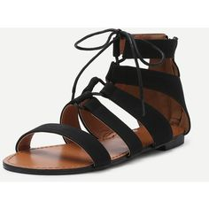 SheIn(sheinside) Black Peep Toe Caged Cut Out Gladiator Sandals ($24) ❤ liked on Polyvore featuring shoes, sandals, platform gladiator sandals, black lace up sandals, strappy sandals, lace-up gladiator sandals and low heel sandals