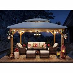 Gazebo On Deck, Backyard Pavilion, Backyard Gazebo, Backyard Seating, Backyard Patio Designs, Pergola Patio, Arizona Backyard Ideas, Gazebo With Fire Pit, Gazebo Roof