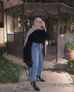 Ideas For Fashion Hijab Outfits Casual Black Modern Hijab Fashion, Street Hijab Fashion, Hijab Fashion Inspiration, Muslim Fashion, Modest Fashion, Casual Hijab Outfit, Hijab Chic, Casual Outfits, Eid Outfits