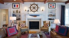 Ship wheel above the fireplace becomes an instant focal point