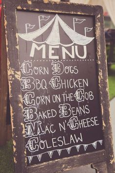 Chalkboard sign at a circus birthday party! See more party ideas at CatchMyParty.com!