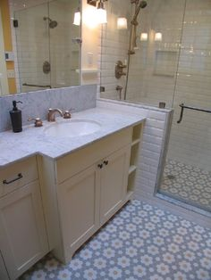Fabulous Craftsman Bathroom Remodel and Addition Modern Backlit Mirror